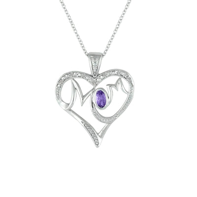 Mom Heart Pendant - Amethyst & Diamond Mom Pendant in Silver