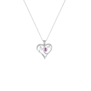 Created Pink Sapphire and Diamond Accent 'Mom' Heart Pendant