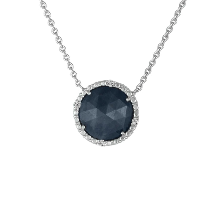 Genuine Sapphire and Diamond Accent Fashion Necklace in Silver