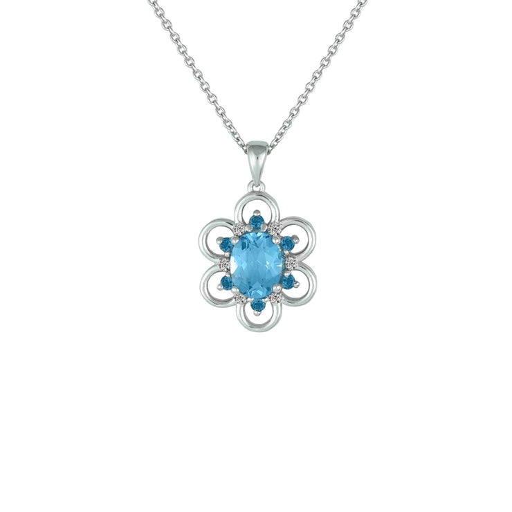Blue Topaz, London Blue Topaz, Created White Sapphire Pendant