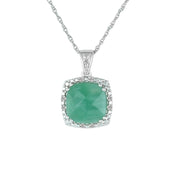 Genuine Emerald and Diamond Accent Pendant in Silver
