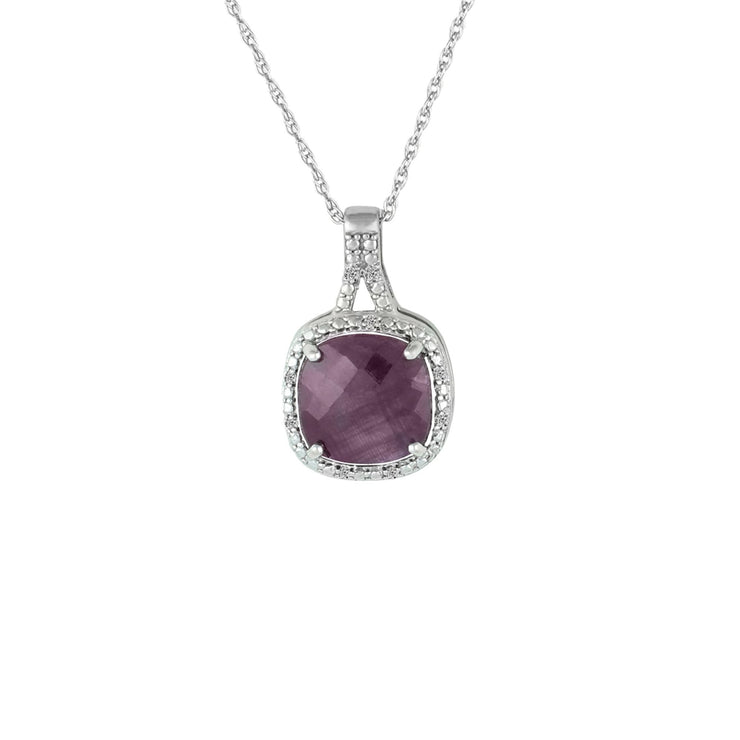 Genuine Ruby and Diamond Accent Fashion Silver Pendant