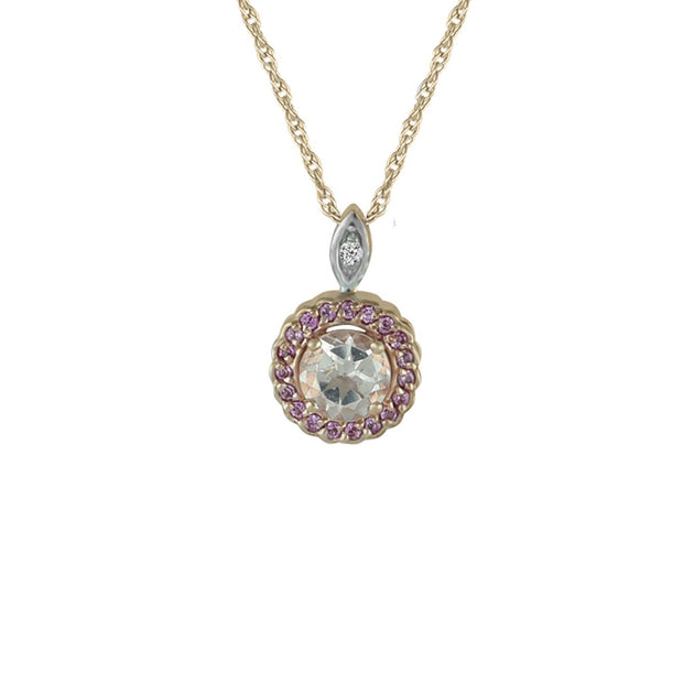 Morganite and Created Pink Sapphire Fashion Pendant in 10K Rose Gold