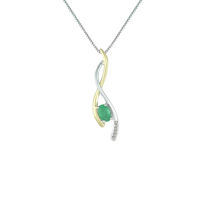 Emerald and Diamond Fashion Pendant in Silver & 14K