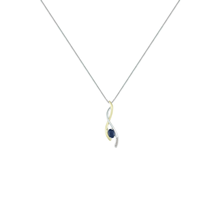 Sapphire and Diamond Fashion Pendant in Silver & 14K