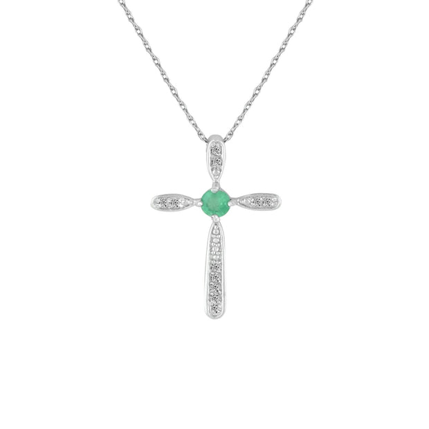 Emerald and Diamond Cross Pendant in Sterling Silver
