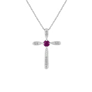 Ruby and Diamond Cross Pendant in Sterling Silver
