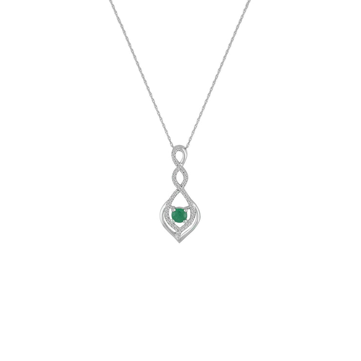 Emerald and Diamond Accent Fashion Pendant in 10K White Gold