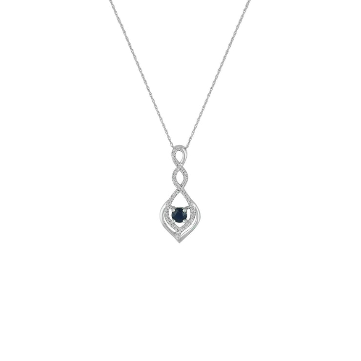 Sapphire and Diamond Accent Fashion Pendant in 10K White Gold