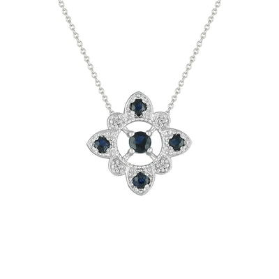 Sapphire and Diamond Accent Fashion Necklace in 10K White Gold