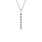 Created Blue and White Sapphire Fashion Pendant in 10K White Gold