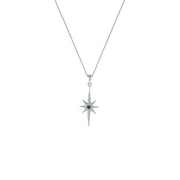 Created Blue and White Sapphire Star Fashion Pendant in 10K Gold