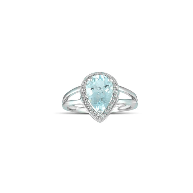 10K White Gold Aquamarine and Diamond Accent Fashion Ring
