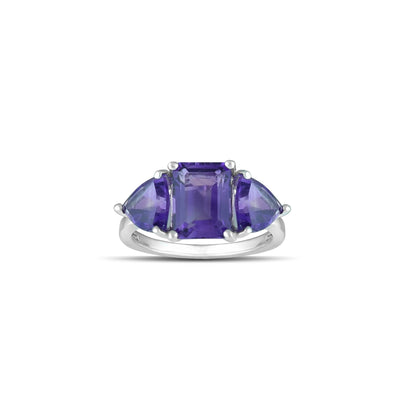 10K White Gold Multi-Stone Amethyst Fashion Ring