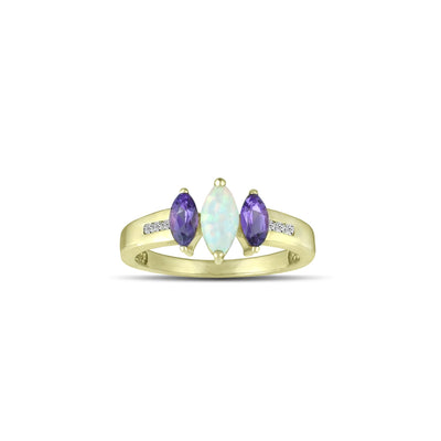 Gold Fashion Ring - Amethyst & Created Opal Fashion Ring in 10K Yellow Gold