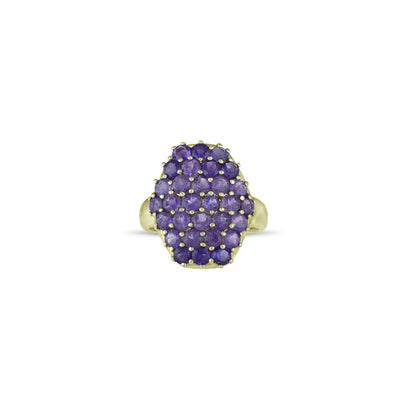 10K Yellow Gold Multi-Stone Amethyst Fashion Ring