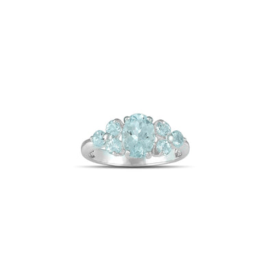 10K White Gold Multi-Stone Aquamarine Fashion Ring