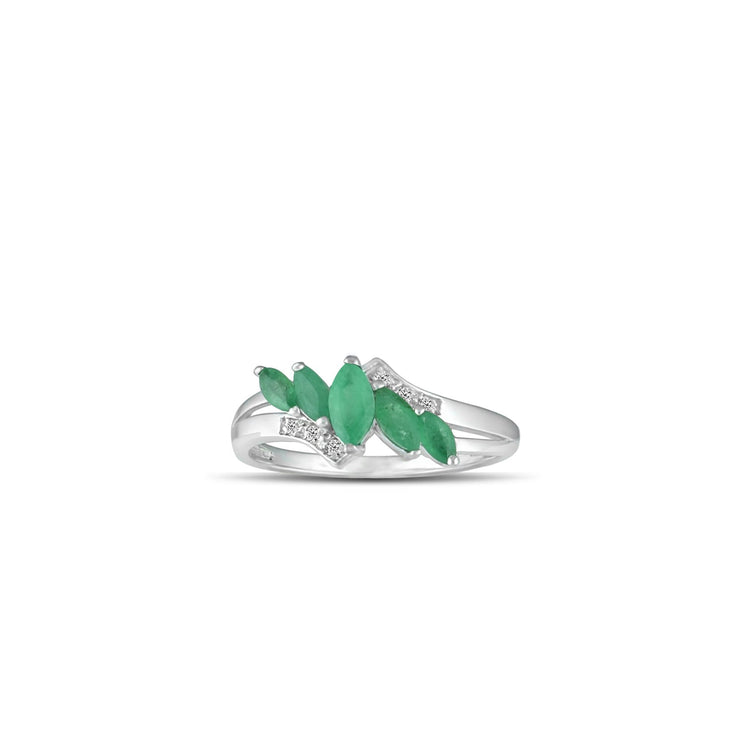 10K White Gold Emerald and Diamond Accent Fashion Ring