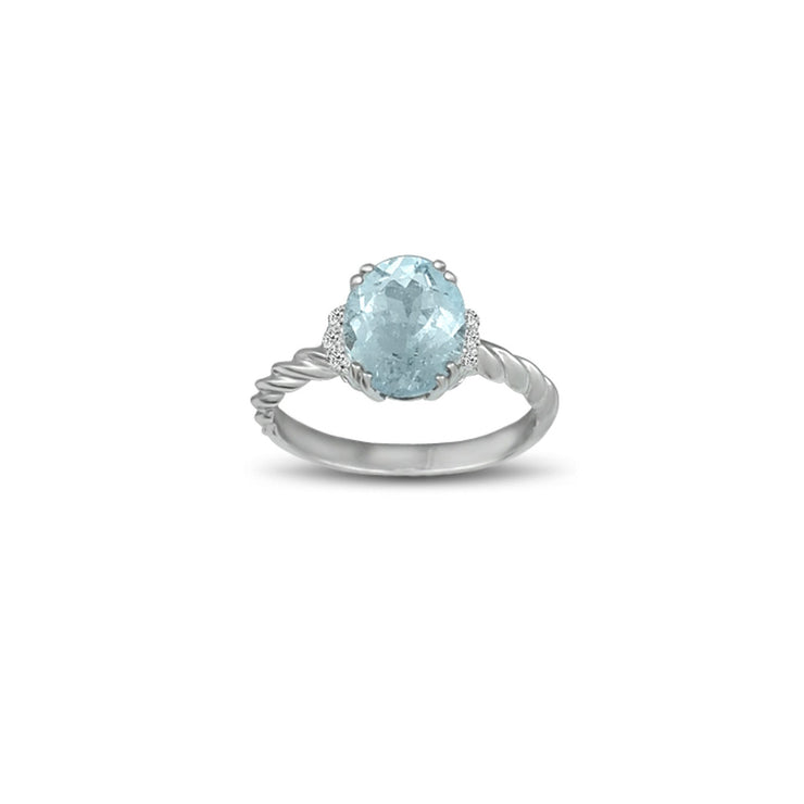 Aquamarine and Diamond Accent Ring in Silver