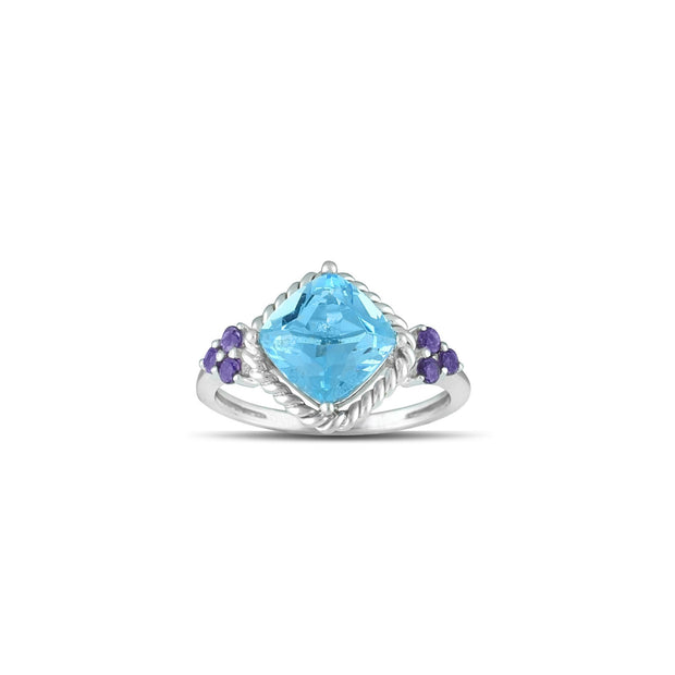 10K White Gold Blue Topaz and Amethyst Fashion Ring
