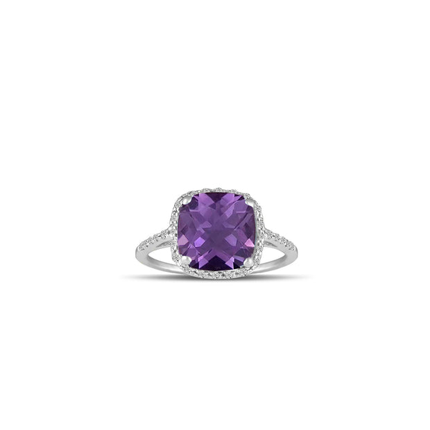 White Gold Amethyst Ring - 10K Gold Amethyst and Diamond Ring
