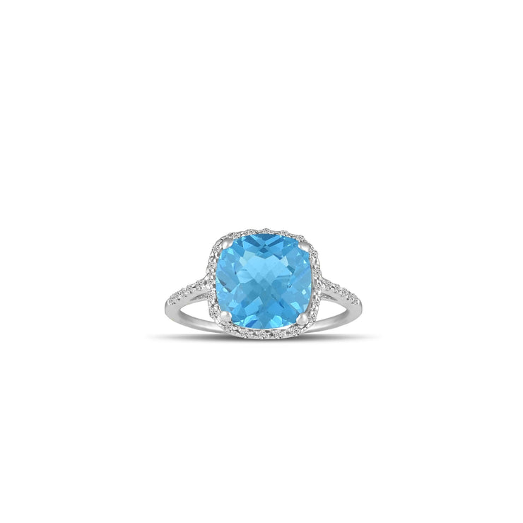10K White Gold Blue Topaz and Diamond Accent Fashion Ring