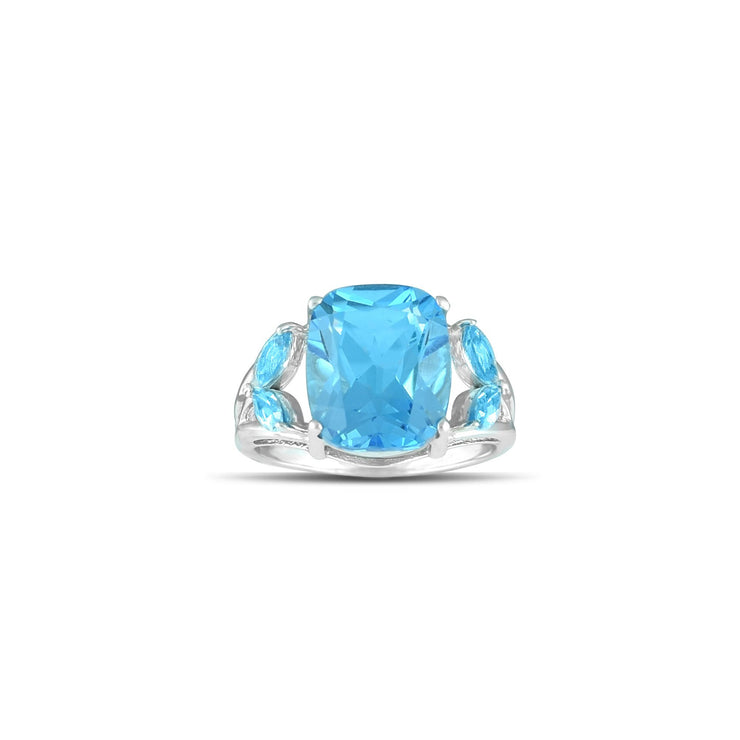 10K White Gold Multi-Stone Blue Topaz Fashion Ring