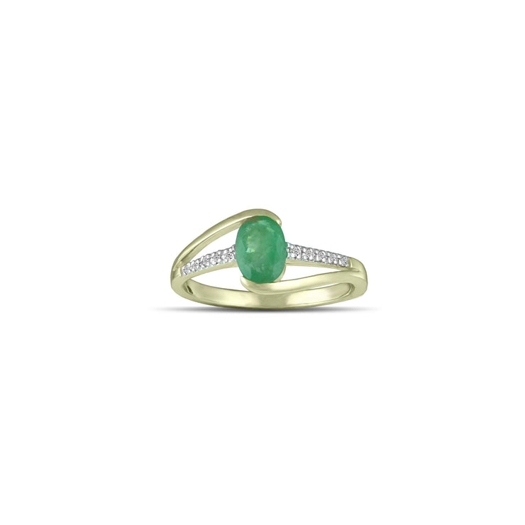 10K Yellow Gold Emerald and Diamond Accent Fashion Ring