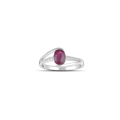 10K White Gold Ruby and Diamond Accent Fashion Ring