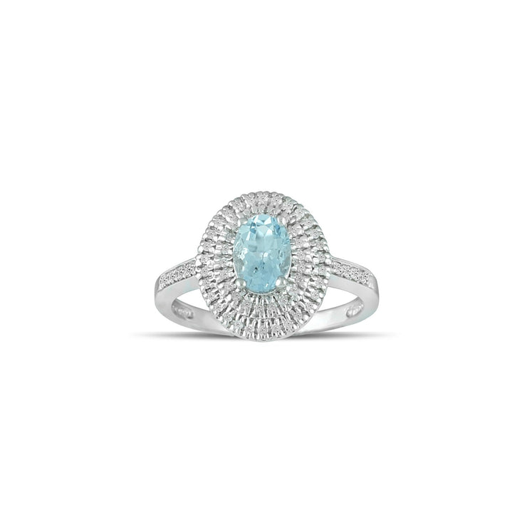 Aquamarine Gold Ring - 10K White Gold Aquamarine and Diamond Fashion Ring