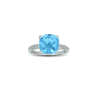 Blue Topaz and Diamond Accent Ring in Silver