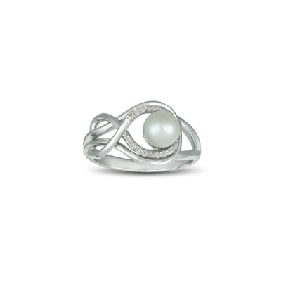 Pearl and Diamond Accent Ring in Sterling Silver