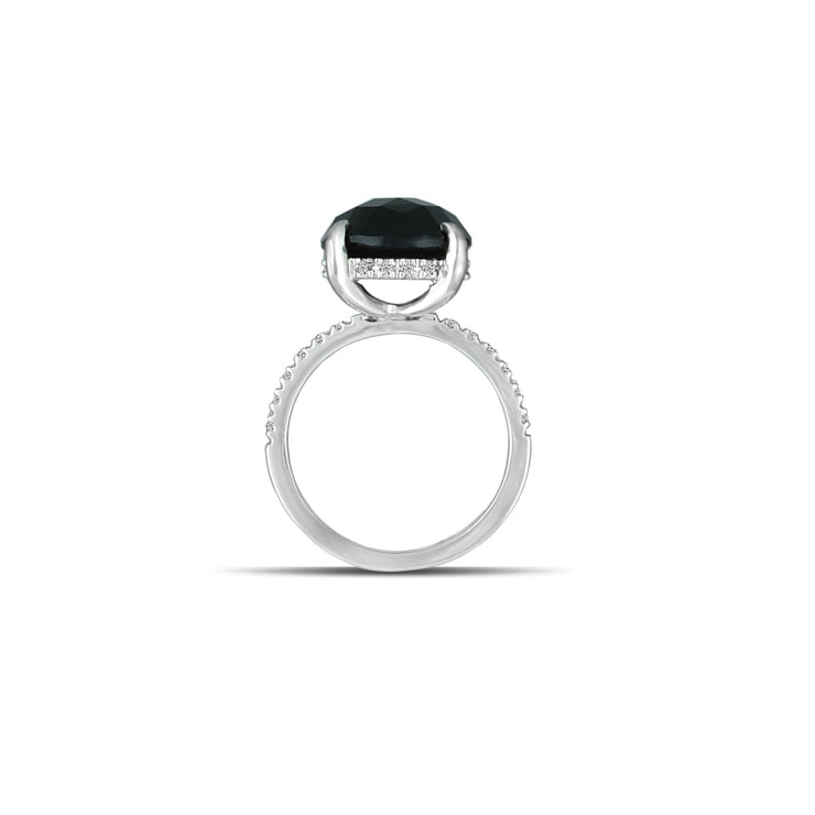 10K White Gold Black Onyx and Diamond Accent Fashion Ring