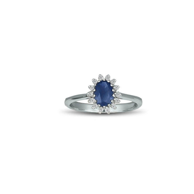 Blue Sapphire and Diamond Accent Fashion Ring in Silver