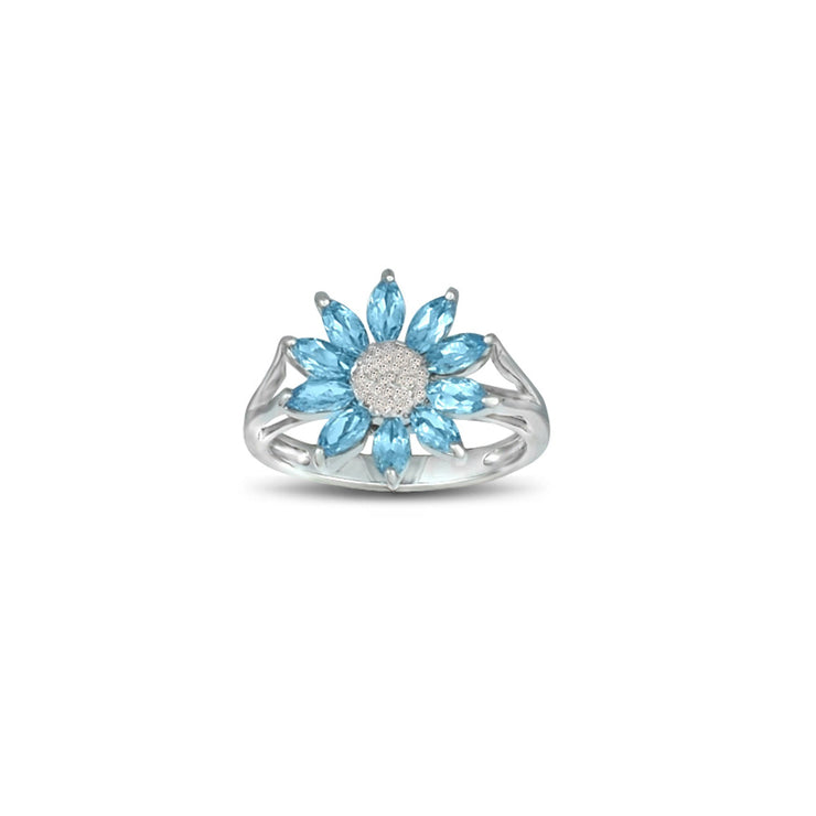 Blue Topaz and Diamond Accent Flower Ring in Silver