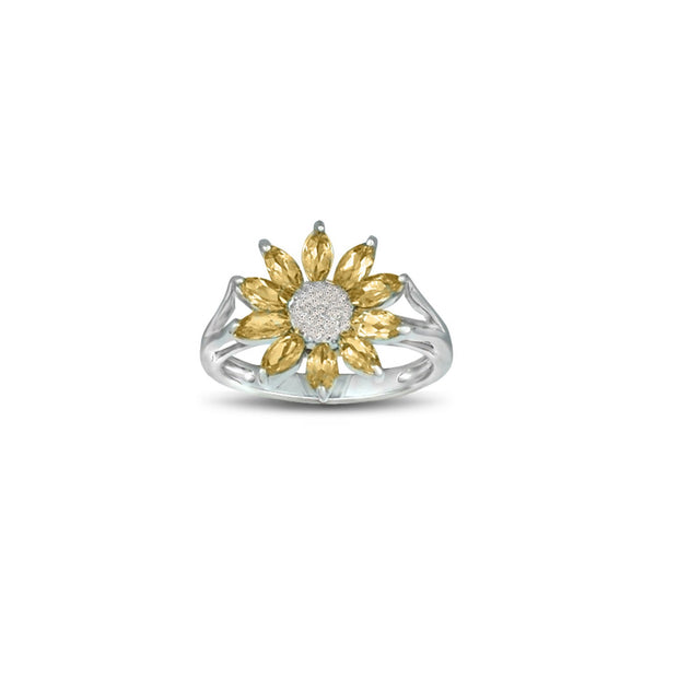 Citrine and Diamond Accent Flower Ring in Silver