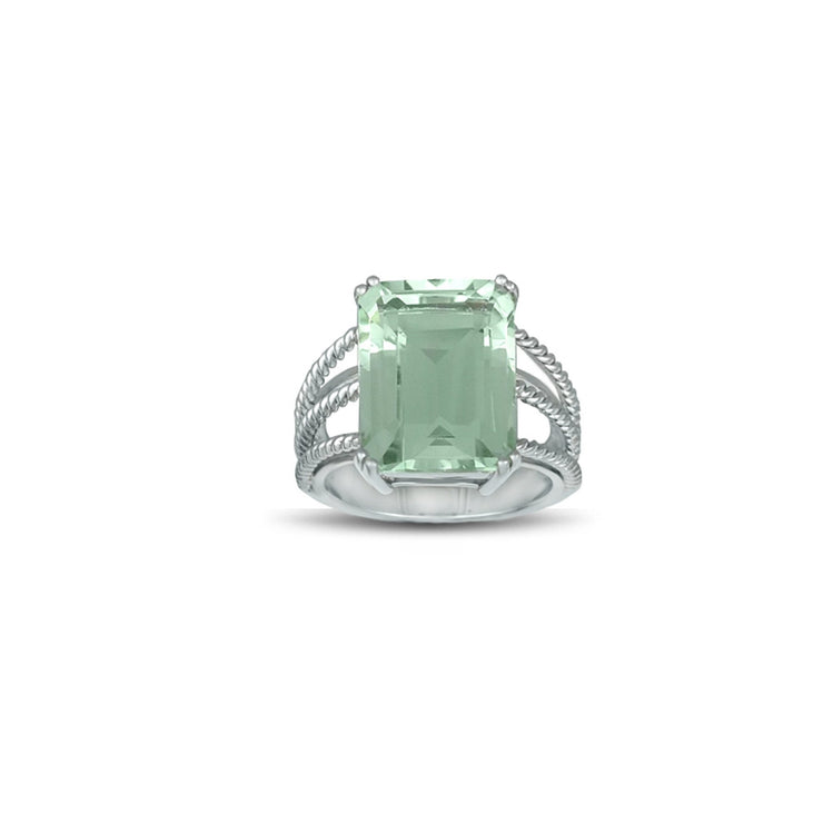 Green Amethyst Fashion Ring in Sterling Silver