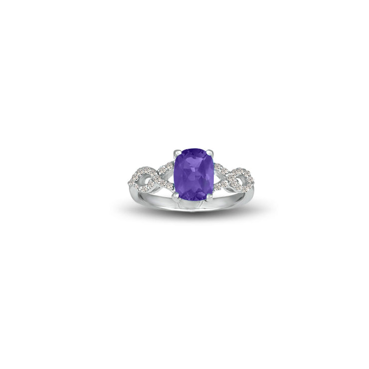 Amethyst and Diamond Fashion Sterling Silver Ring
