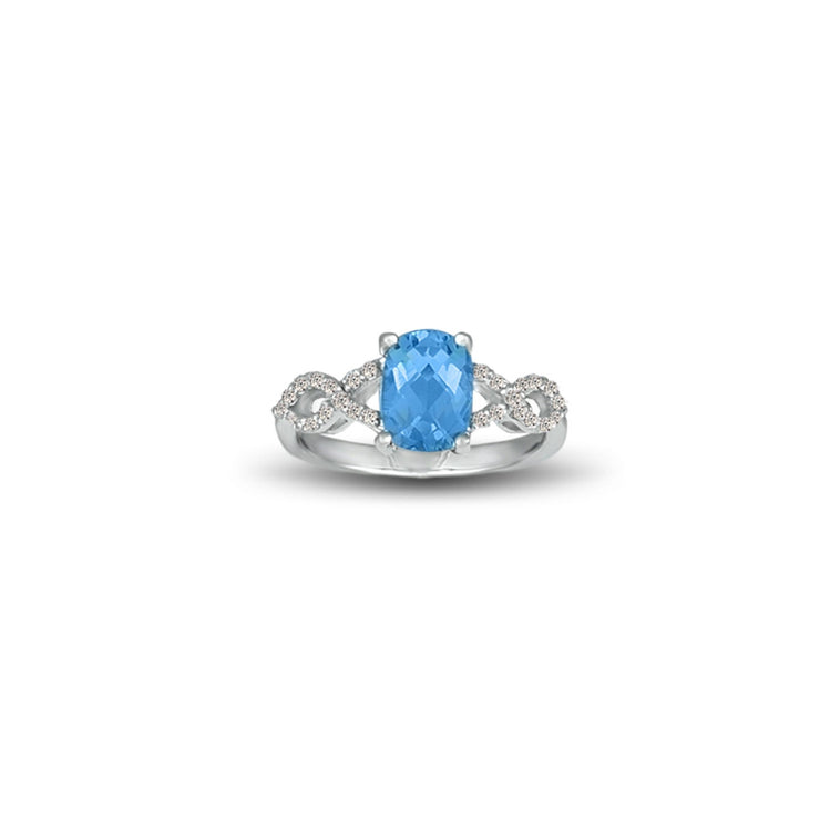 Blue Topaz and Diamond Fashion Sterling Silver Ring
