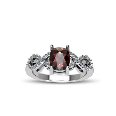 Garnet and Diamond Fashion Sterling Silver Ring