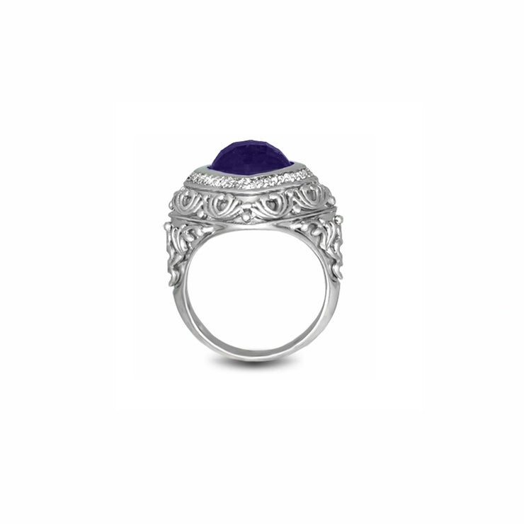 Amethyst and Diamond Fashion Silver Ring