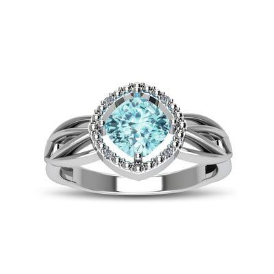 Aquamarine and Diamond Fashion Silver Ring