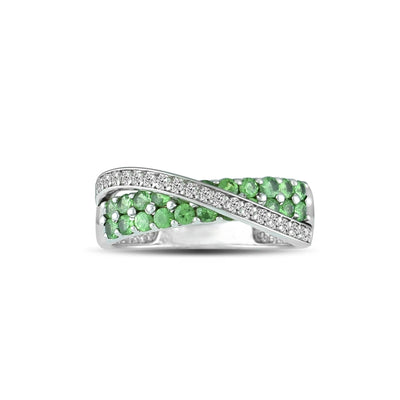 10K White Gold Tsavorite and Diamond Accent Fashion Ring