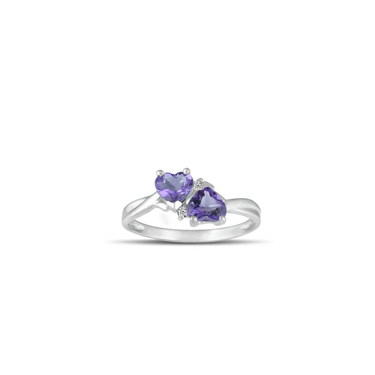 Amethyst Heart Ring - Amethyst & Diamond Accent Ring in 10K White Gold
