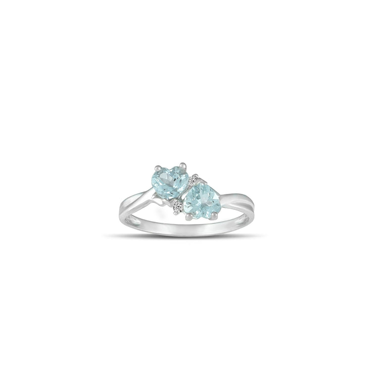 Gold Aquamarine Heart Ring - 10K White Gold Aquamarine and Diamond Heart Ring