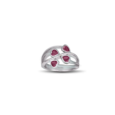 Created Ruby and Diamond Heart Silver Ring