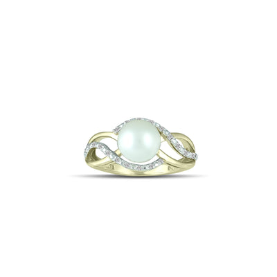 10K Yellow Gold Freshwater Pearl and Diamond Accent Ring