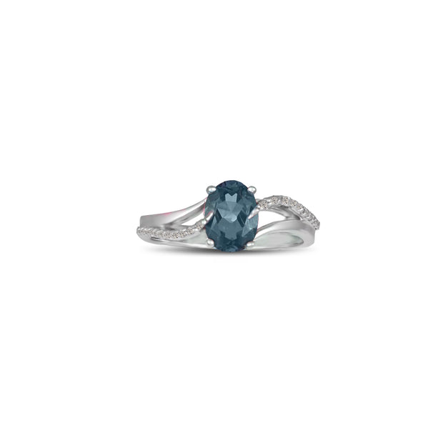 Created Alexandrite and Diamond Accent Silver Ring