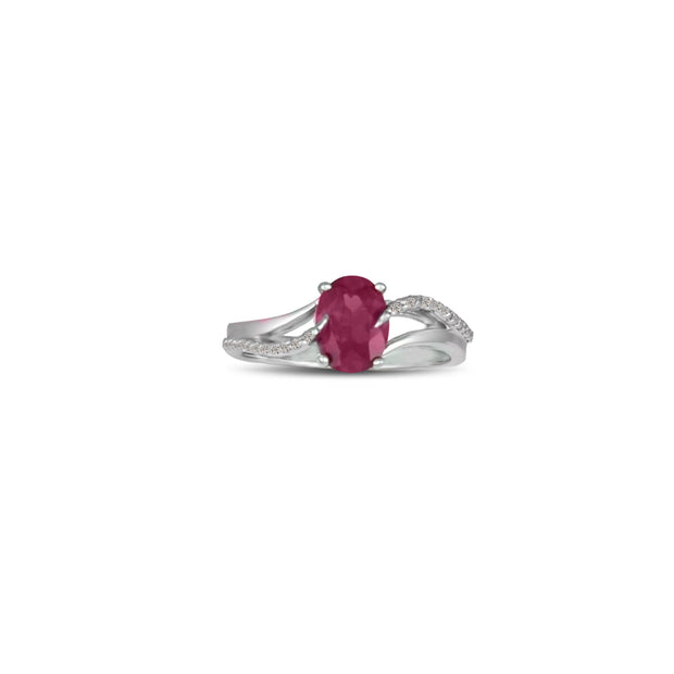 Created Ruby and Diamond Accent Silver Ring