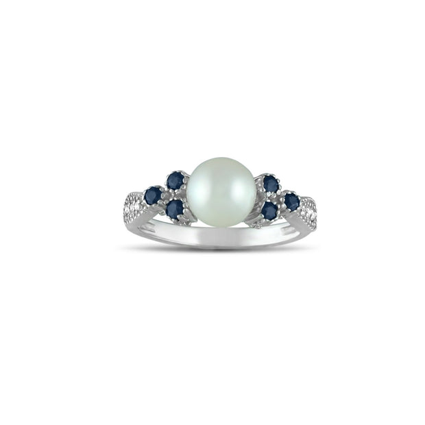 Sapphire, Pearl and Diamond Accent Silver Ring